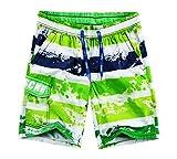 ショートパンツ メンズ水着海水パンツとしての使用もok グリン/イエロー 開店セール期間限定
