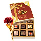 Wonderful Treat For Your Love With 24k Red Gold Rose - Chocholik Luxury Chocolates