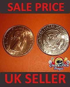 Copper Silver Half Transposition Magic Trick Coin / Coin Magic Illusion / Half Dollar - English Penny Version