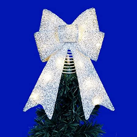 14 Silver Lighted Tinsel Bow