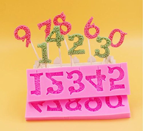 Alphabet Number 0-9 3d Silicone Mold with Lollipop Hole Fondant Cake Decorating By Palker Sky (Chocolate Mold Number 8 compare prices)