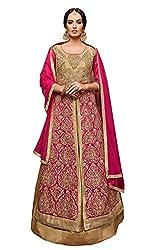 Monika Silk Mill Presents Pink & Beige Designer Dress Material