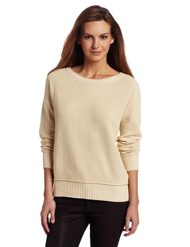 Minnie Rose Women's Shaker Stitch Pullover Sweater
