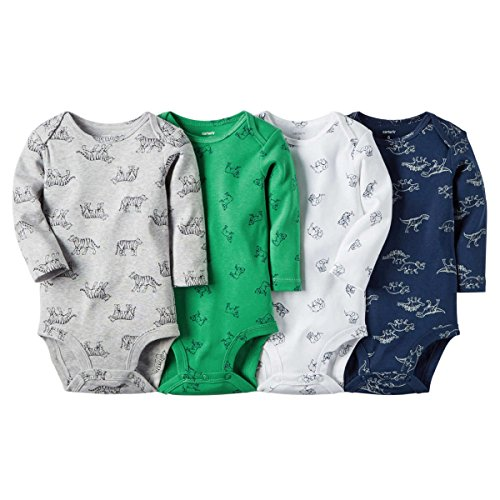 Carters Baby Boys-4-Pack Long-Sleeve Bodysuits, Dinosaur - Jungle - Dogs - Big Cat,18M