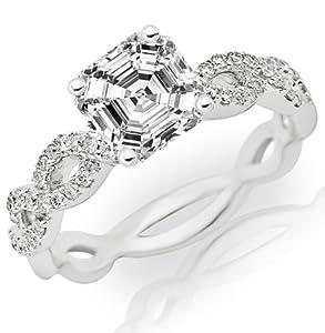0.75 Carat Asscher Cut / Shape 14K White Gold Eternity Love Twisting Split Shank Diamond Engagement Ring ( F-G Color , VS2 Clarity )