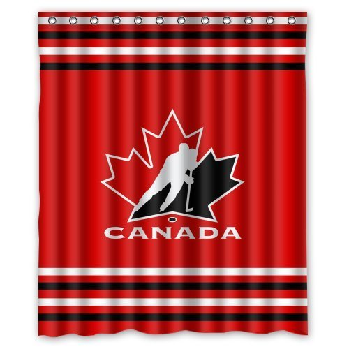 Custom NHL Team Canada Hockey Stripes Waterproof Polyester Shower Curtain 60x72 (Canada Shower Curtain compare prices)