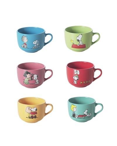 Geniet van Startpagina Cappuccino kop Set van 6 Jumbo Snoopy 40 cl veelkleurige
