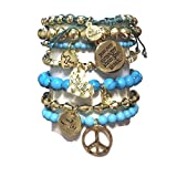 CAT HAMMILL  ( キャットハミル ) ブレスレット Aqua Gold Fine set aqua  charms bracelet ハート チャーム マリン アクア ブレスレットセット ブルー ゴールド ポーチ セット : 海外 オーストラリア
