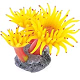 Uxcell Concrete Base Silicone Coral Anemone Aquarium Plant Decoration, Yellow