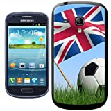 Fancy A Snuggle Union Jack UK Flag with Black/White Football Clip-on Hard Back Cover for Samsung Galaxy S3 Mini i8190