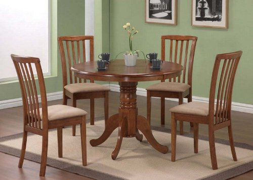 Oak Finish Round Table 5 Piece Dining Set (table & 4 chairs) - Coaster Co.