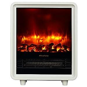 Puraflame Octavia White 11 Inch Mini Portable Fireplace Heater Eco Saving High