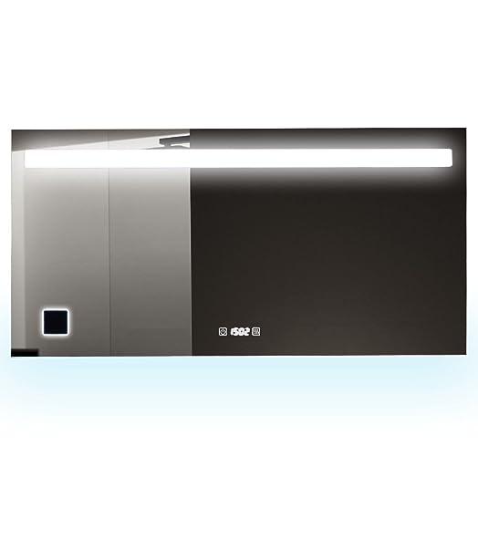 Specchio bagno LED anti-appannamento con orologio e presa elettrica Imir colore fredda 6000K a 80cm 100cm 120cm e 150cm, 80 x 50 cm