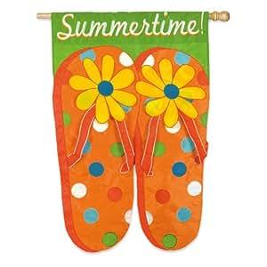 Summertime Flip Flops Applique House Flag