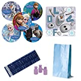 Frozen Birthday Party Favor Pack - 48 Stickers (8 Make Your Own Olaf and 8 Sets of 5 Different Frozen Characters), 8 Snowflake Pencils, 8 Mini Bubbles and 8 Sky Blue Treat Bags