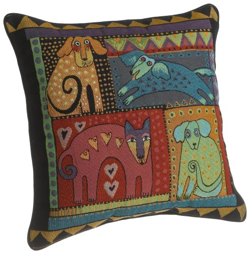 Laurel Burch 18-inch Mythical Dogs Square Pillow