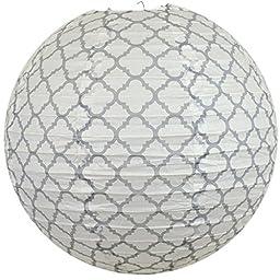 Bobee Paper Lanterns, Home Decor, Grey Print on White, 5-pack