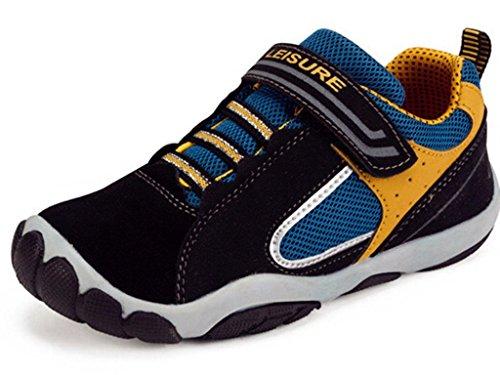 DADAWEN Boy's Girl's Leather Ventilator Casual Shoes Sneakers (Toddler/Little Kid/Big Kid) Black US Size 5 M Big Kid (Big Boys Shoes Size 5 compare prices)