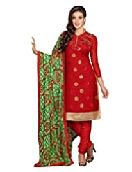 Surat Tex Red Color Casual Wear Embroidered Chanderi Cotton Un-Stitched Dress Material-E426DL52RA