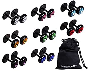 Bundle Monster Titanium Stainless Steel Black Barbell Synthetic Crystal Earrings Faux Taper Jewelry - 8pc Lot