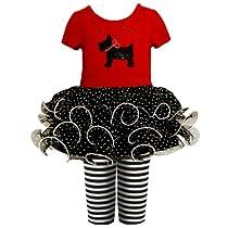 24M,BNJ-4940B Short-Sleeve Scottie Puppy Dog Applique Tutu Dress/Legging Set