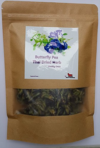 mewinshop Butterfly Pea Flower Healthy Thai Dried Herb Tea Drink Blood Health ORGANIC Natural Blue Eye Food Pure 50g Coloring Cooking (Violet Extract For Cooking compare prices)