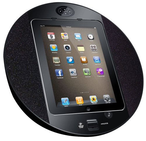 Pyle Home PIPDSP2B Touch Screen Dock with Built-In FM Radio/Alarm Clock for iPod, iPhone and iPad (Black)