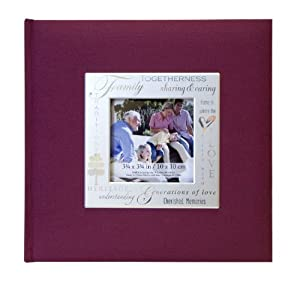 MCS MBI 846613 9 by 9-Inch Fabric Expressions with Frame Front 200 Pocket Album in Burgandy Family Theme