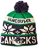 NHL Vancouver Canucks Men's Face-Off Winter Cuffed Pom Knit Beanie, One Size, Green