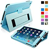 Snugg iPad Mini & Mini 2 Case - Smart Cover with Flip Stand & Lifetime Guarantee (Baby Blue Leather) for Apple iPad Mini & Mini 2 with Retina