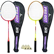 Guru Pro BR09 COMBO-03 Badminton Racket Set Pack Of Two With Two Cover & 3 Shuttlecock Size: 27 Inch
