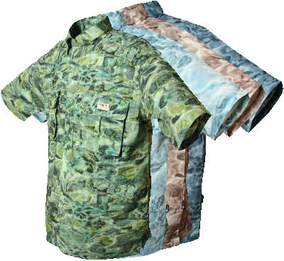 Aqua Design Mens Vented Short Sleeve Camo Flats Fly Fishing Shirt