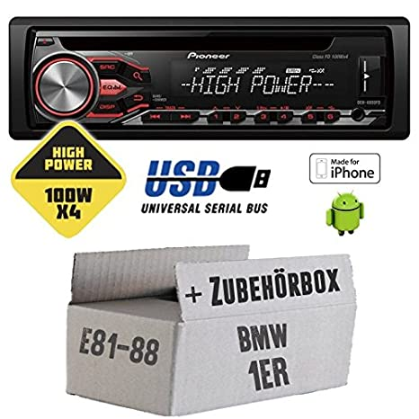 BMW série 1 e81 e87 pioneer dEH - 4800FD highPower - 4 x 100 w cD/mP3/uSB avec kit de montage
