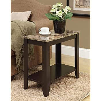 "Monarch specialties I 3114, Accent Side Table, Marble-Look Top, Cappuccino, 24""L"