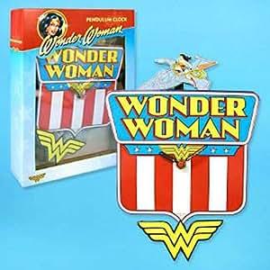 Amazon Com Wonder Woman Pendulum Wall Clock Home Amp Kitchen