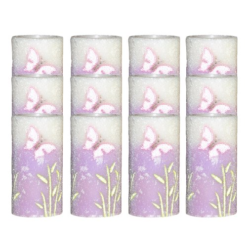 Dfl 3*6 Inch Spring Flameless Led Candle With Timer,Embossed Purple Butterfly,Work With 2 C Battery,Pack Of 12