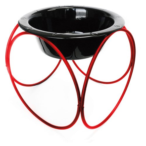 Olympic Dinner Stand w/ 64oz Stainless Steel Dog Bowl - Red & Black