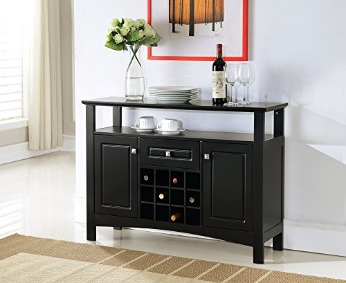Kings Brand Furniture Wood Wine Rack Buffet Cabinet Storage Console Table, Black (Wine Console Table compare prices)