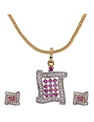 Ratnabhushan Jewels Gold Plated CZ Pendant Earring Set For Women