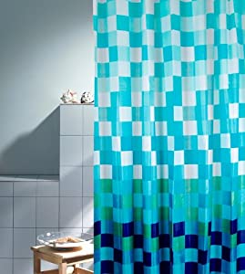 duschvorhang ravenna blau karomuster blau gr n t rkis weiss 180cm breit x 200cm lang textil. Black Bedroom Furniture Sets. Home Design Ideas