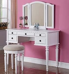White Finished Wood Bedroom Makeup Vanity Set With Vanity Table Tri Fold Vanity