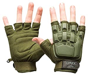 Valken V-TAC Half Finger Plastic Back Airsoft Gloves, Olive, X-Small/Small