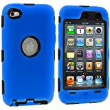 Blue Deluxe Hybrid Premium Rugged Hard Soft Case Skin Cover for iPod Touch 4th Generation 4G 4