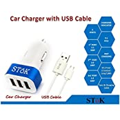 SToK 5.1 Amp Output 3 USB Port Compatible Certified Car Charger For Apple IPhone, Samsung, Micromax, HTC, Nokia...