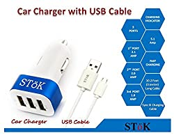 SToK Smart Charge 5.1 Amp Output 3 USB Port Compatible Certified Car Charger For Apple iPhone, Samsung, Micromax, HTC, Nokia, OnePlus, Xiaomi & All Other Smartphones And Tablets - Smallest Car Charger With 3 Fast Charging USB Ports - Blue & White with Micro USB Cable 10 feet / 3 meter (ST-CC01-B-MUC3)