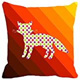 Leaf Designs Stripes And Dotted Cat Cushion Cover