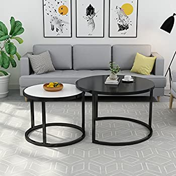 """Nesting Coffee Table Set, LITTLE TREE 48"""" Large Modern End/Side Table with Sturdy Round Metal Base for Living Room, White and Black"""