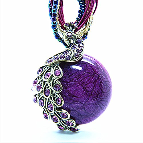 Bluegrass Bohemia Cats-Eys Stone Peacock Pendant Necklace Purple,18.5""