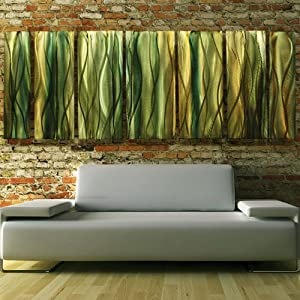 Modern Contemporary Large Green Emerald And Amber Metal Painting Hand Painted