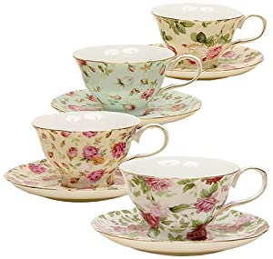 Gracie China Rose Chintz 8-Ounce Porcelain Tea Cup and Saucer, Set of 4 by Gracie China Coastline Imports